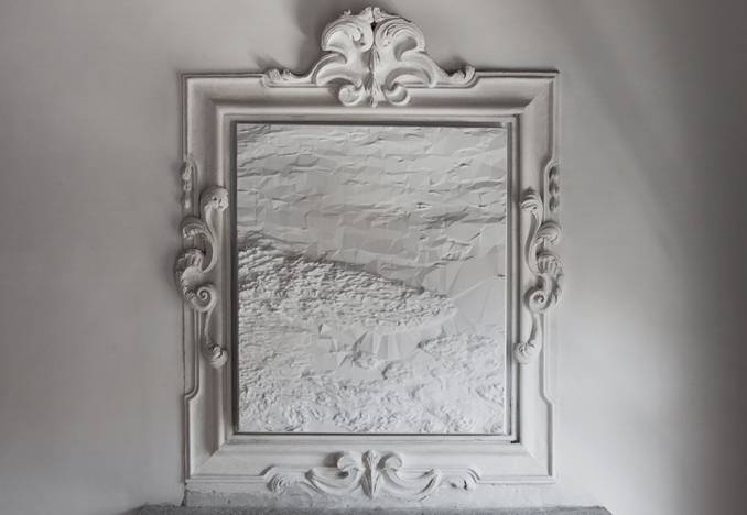 <i>White Sea</i> from the Topology Shift series: bas relief, painted polyurethane