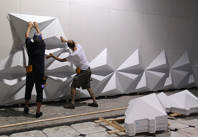 Installing second row of pyramids