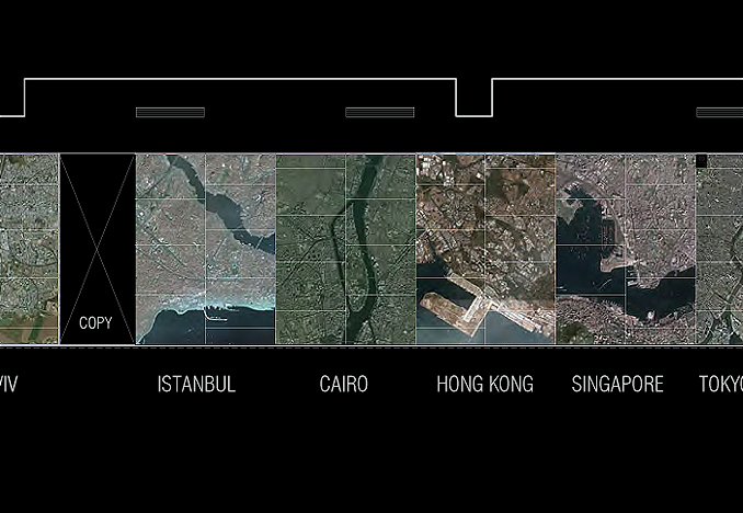 Satellite imagery from major cities, scaled for wall