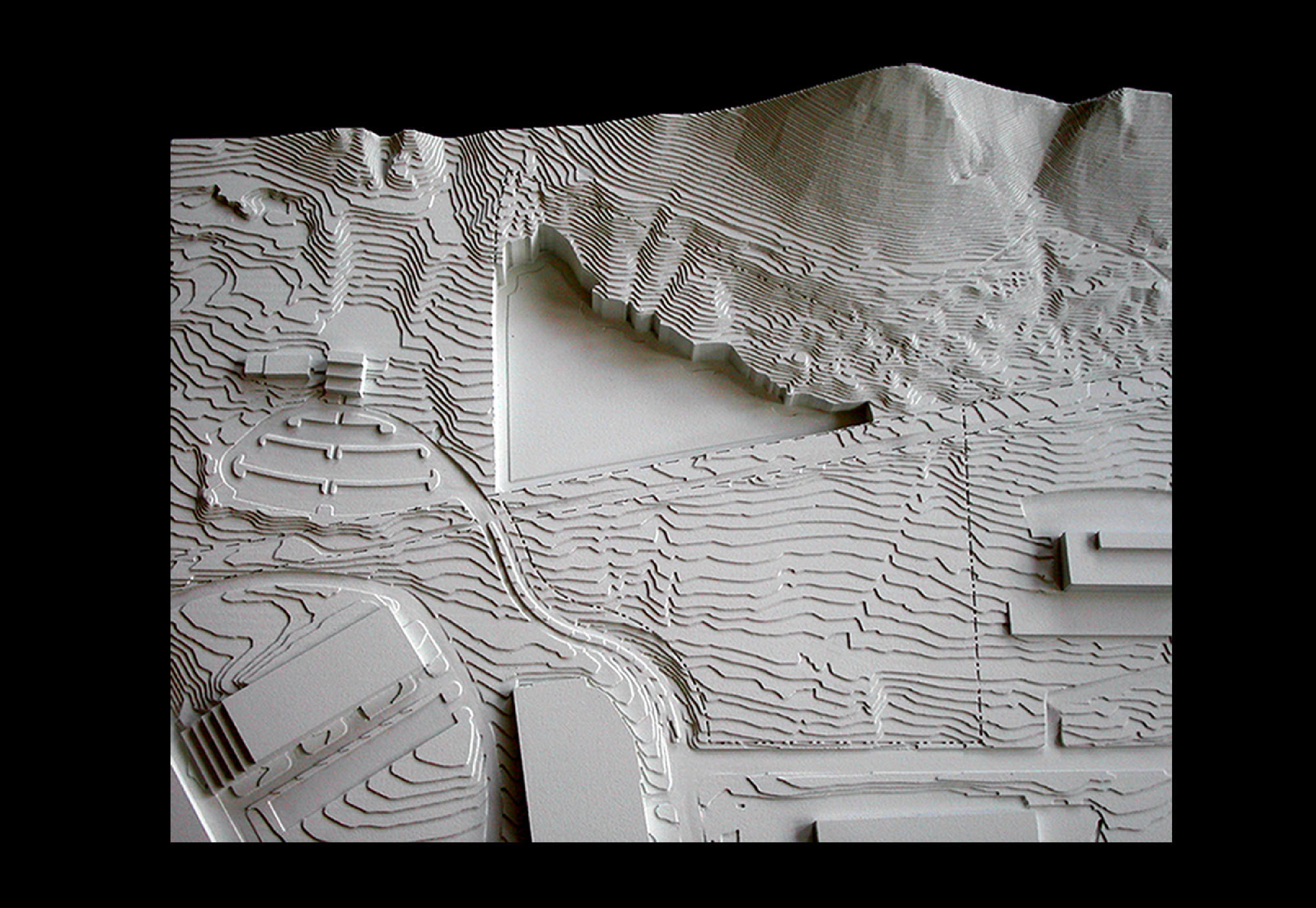 Stepped terrain model with pocket feature, for Ennead Architects