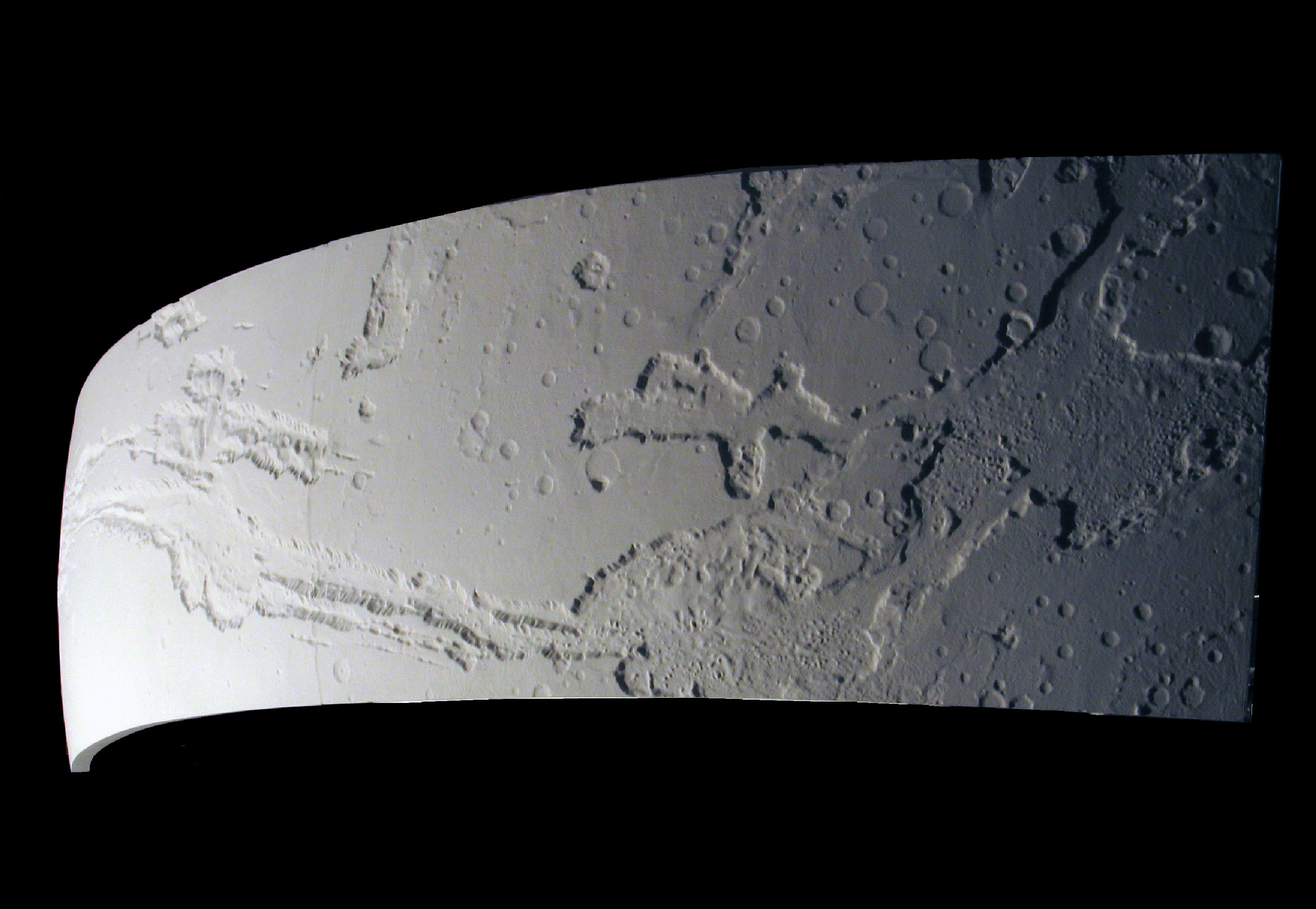 Curved, CNC milled, painted, high density foam model of Valles Marineris, Mars